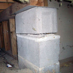 Collapsing crawl space support pillars Schofield