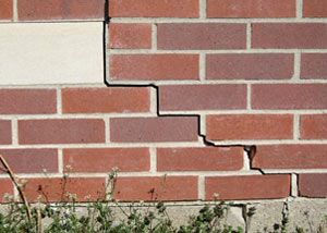 a foundation wall crack on a Schofield home.