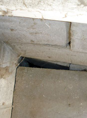 inward rotation of a foundation wall damaged by street creep in a garage in Waupaca