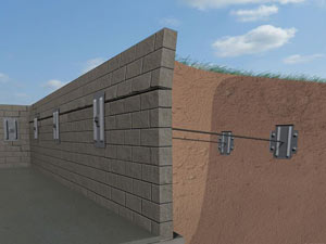 A graphic illustration of a foundation wall system installed in Two Rivers