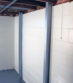 A PowerBrace™ i-beam foundation wall repair system in Green Bay