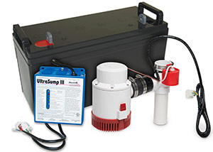 a battery backup sump pump system in Marshfield