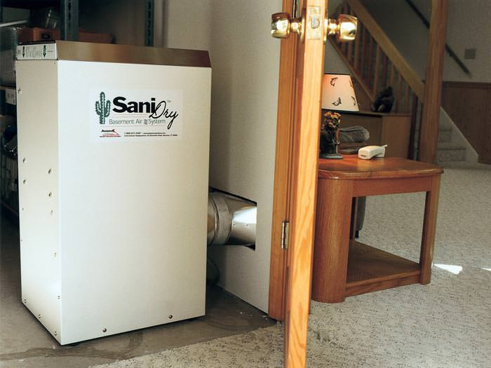 basement dehumidifier with an energy star rating ducting dry air