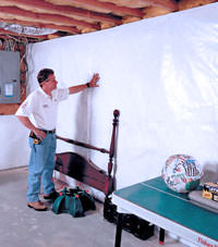 Plastic 20-mil vapor barrier for dirt basements, Wisconsin Rapids, Wisconsin installation